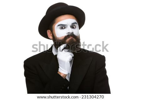 Portrait of the ponderer mime isolated on white background. Concept of finding a solution