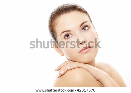 Portrait of the pretty beauty without a make-up, isolated - stock photo