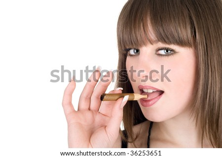 Portrait of the pretty girl with a cigar
