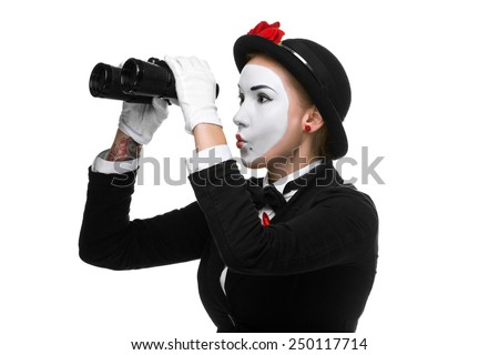 Portrait of the searching woman as mime with binoculars isolated on white background. Concept intense search - stock photo