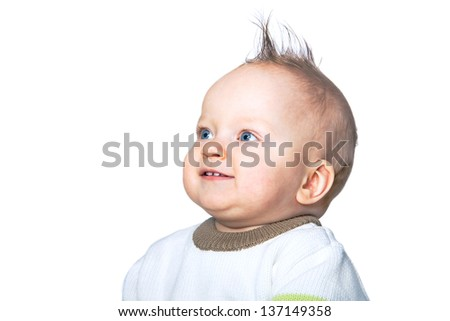 portrait of the small beautiful child of the boy of the isolated - stock photo