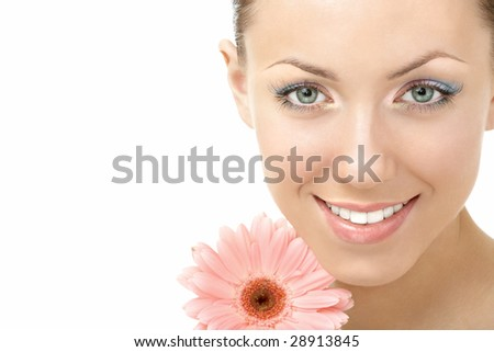 Portrait of the smiling girl with a flower, isolated - stock photo