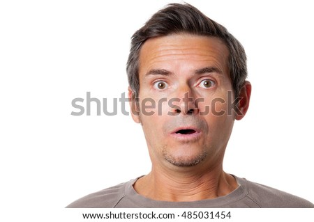 Portrait of the surprise man on white background