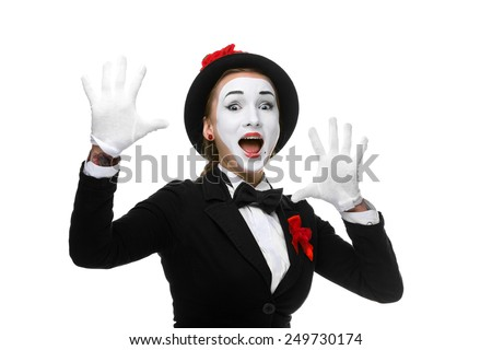 Portrait of the surprised and joyful woman as mime with open mouth isolated on white background. Concept  of wonder and joy - stock photo