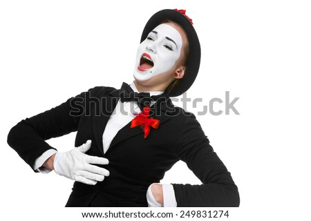 Portrait of the surprised and joyful woman as mime with open mouth isolated on white background. the concept of complete satisfaction and joy - stock photo