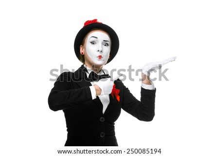 Portrait of the surprised woman as mime isolated on white background. Concept of approval and recommendations - stock photo