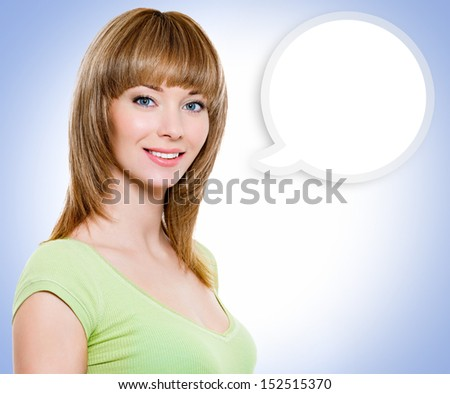 Portrait of the woman with a painted cloud note over color background - stock photo