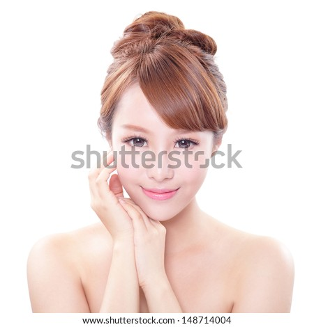 portrait of the woman with beauty face and perfect skin isolated on white background, asian model - stock photo