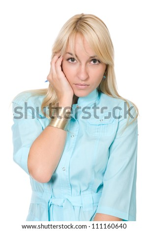 Portrait of the worrying nurse, concept of negative emotion.Isolated over white background - stock photo