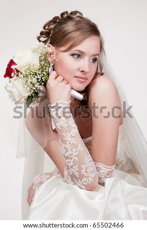 Portrait of the young bride - stock photo