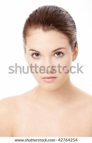 Portrait of the young girl with the ideal face form, isolated - stock photo