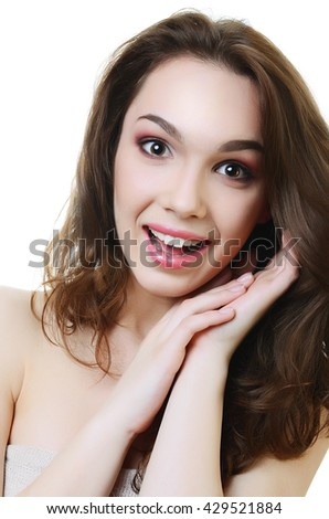 Portrait of the young laughing beautiful  woman - stock photo