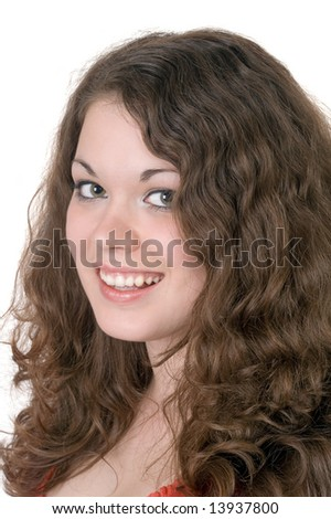 Portrait of  the young smiling woman. Isolated.