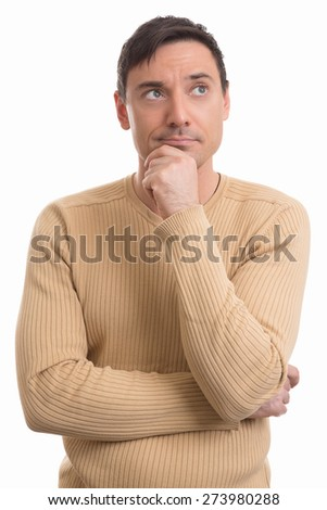 Portrait of the young thinking man looks up. Isolated on white. - stock photo