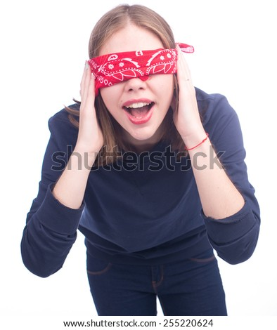 Portrait of the young woman blindfold isolated on white - stock photo