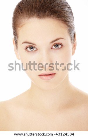 Portrait of the young woman isolated on a white background - stock photo