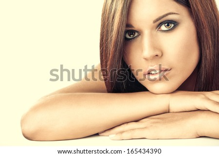 Portrait of the young woman with the beautiful hair, isolated - stock photo