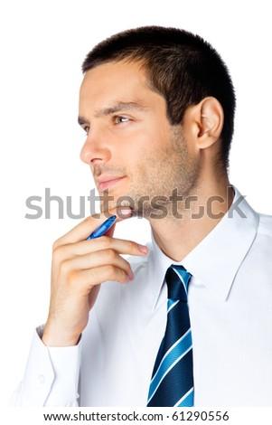 Portrait of thinking businessman, isolated on white - stock photo