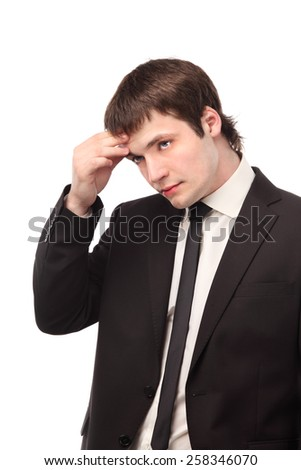 Portrait of thinking casual man thinking.  businessman, on the white background - stock photo