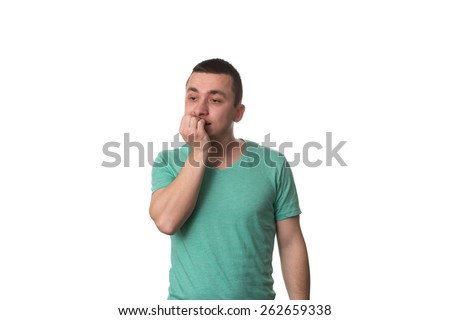 Portrait Of Thinking Man With Fingers In Mouth - Biting Fingernail - Negative Emotion - Facial Expression - Isolated On White Background - stock photo