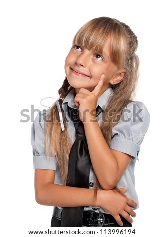 Portrait of thoughtful little girl isolated on white background - stock photo