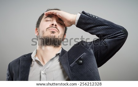 Portrait of thoughtful man - stock photo