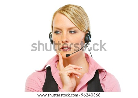 Portrait of thoughtful woman employee in headset - stock photo
