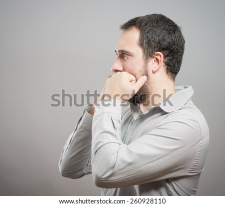Portrait Of Thoughtful Young Man - stock photo