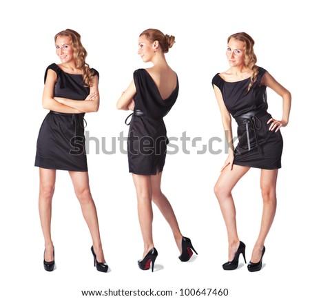 Portrait of three attractive young women in a black dress Full length looking at camera isolated on  white background - stock photo