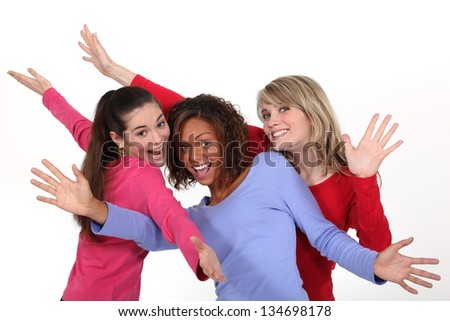 Portrait of three friends - stock photo