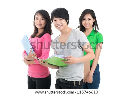 Portrait of three high school students looking at camera and smiling