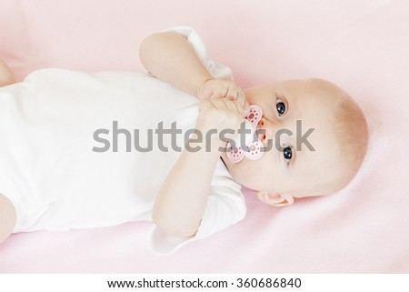portrait of three months old baby girl - stock photo