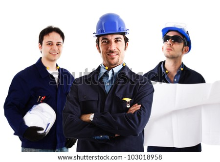 Portrait of three smiling engineers - stock photo