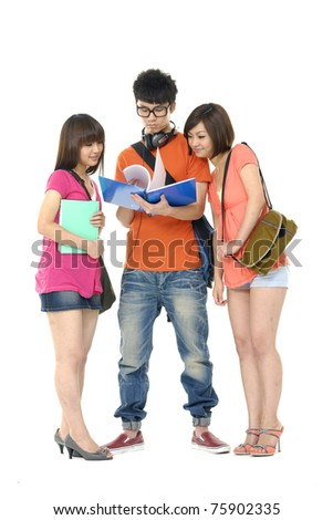 Portrait of three students with notebooks and paper folders posing - stock photo