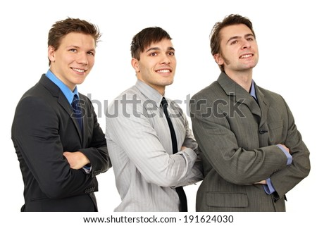 Portrait of three thinking young business people on isolate white background