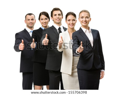 Portrait of thumbing up group of business people, isolated on white. Concept of teamwork and cooperation