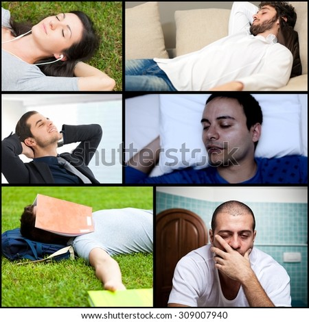 Portrait of tired people relaxing and sleeping - stock photo