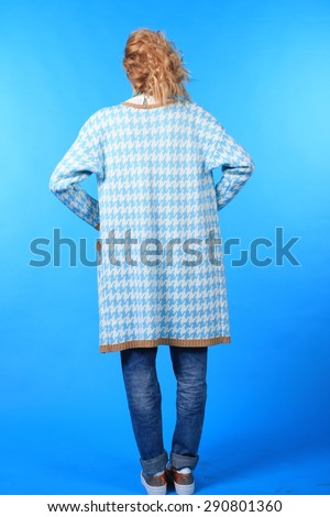 portrait of trendy young woman posing - stock photo
