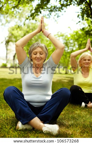 Portrait of two aged females doing yoga exercise on green grass - stock photo