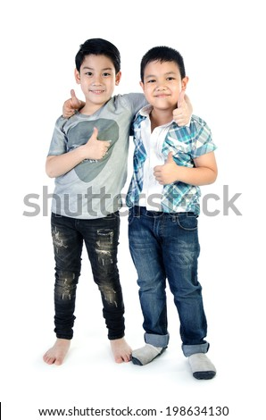 Portrait Of two asian cute boy  isolate on white  background .