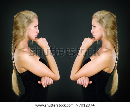 Portrait of two beautiful girls with long hair - stock photo