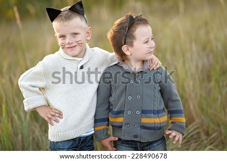 Portrait of two boys in the summer of friends