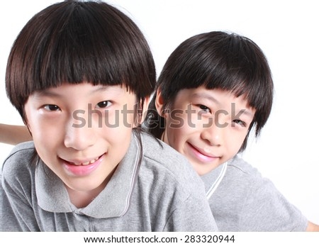 Portrait of two boys, twins - stock photo