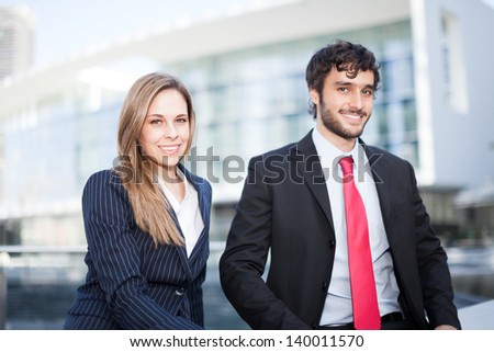 Portrait of two business partners - stock photo