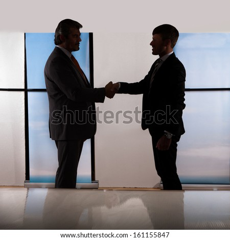 Portrait Of Two Businessmen Shaking Hands At Office