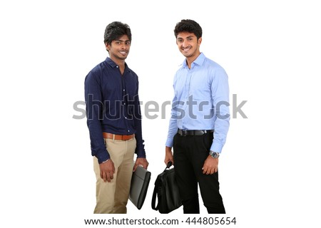 Portrait of two businessmen smiling on white background. - stock photo