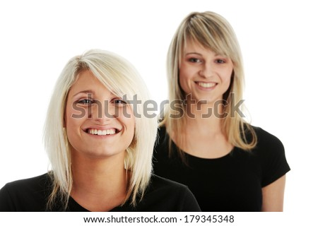 Portrait of two casual caucasian women (students or business people)