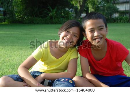 Portrait of two children. - stock photo