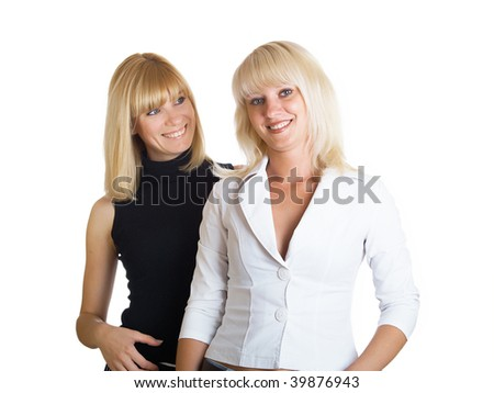Portrait of two girls of blondes on a white background