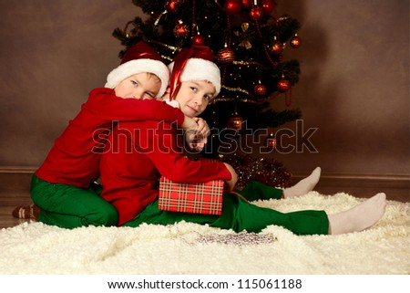 Portrait of two  happy boys, christmas - stock photo